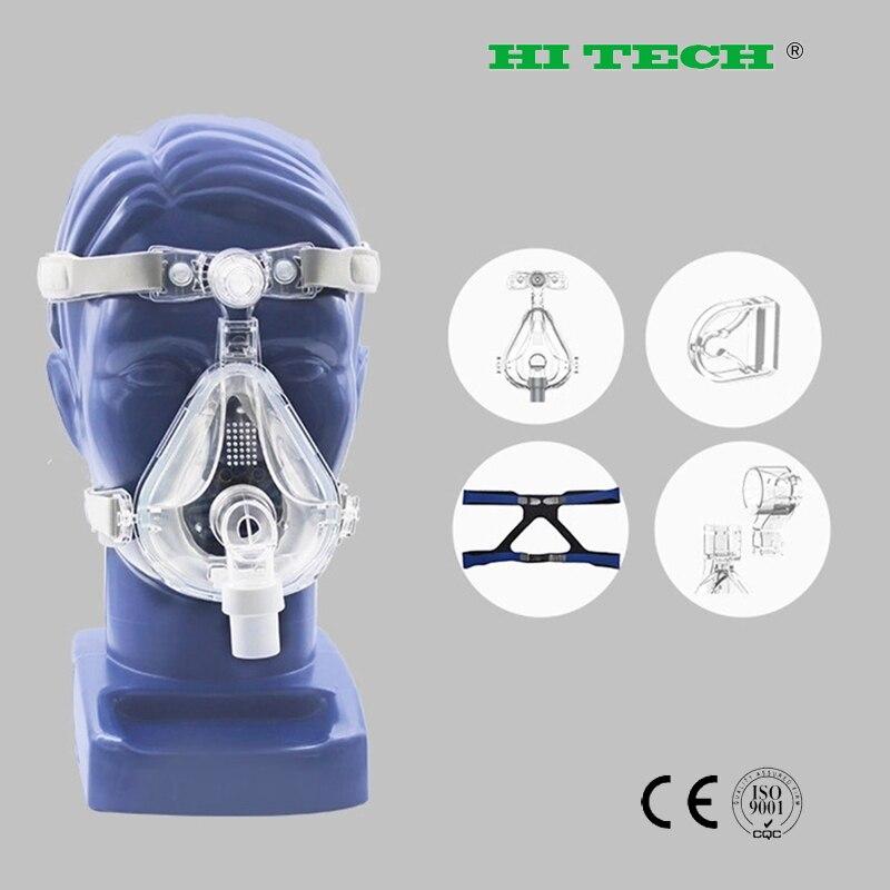 Маска на все лицо CPAP Авто CPAP BiPAP маска с бесплатным головным убором Белый s m l для апноэ сна OSAS храп людей