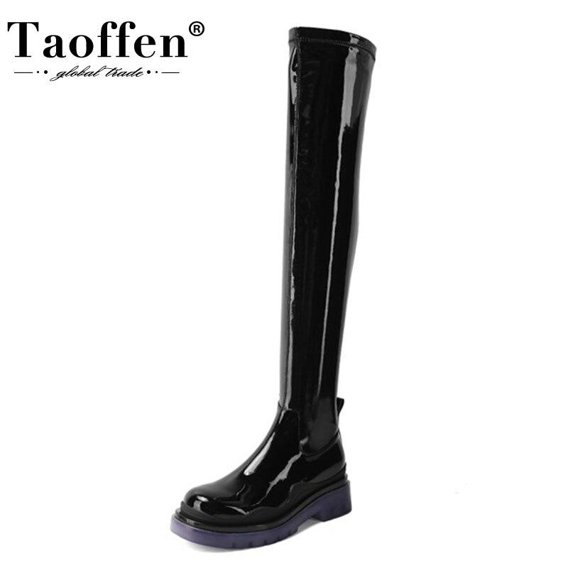 TAOFFEN-botas por encima de la rodilla de charol para mujer, botas largas de invierno de Color mezclado, zapatos de mujer a la moda, talla 34-41