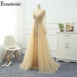 Image 4 - Erosebridal linia suknia wieczorowa z długim rękawem 2020 złota frezowanie elegancka suknia wieczorowa mały pociąg Prom suknia wieczorowa Zipper powrót