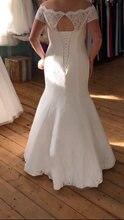 Элегантное свадебное платье русалки кружевное длиной до пола