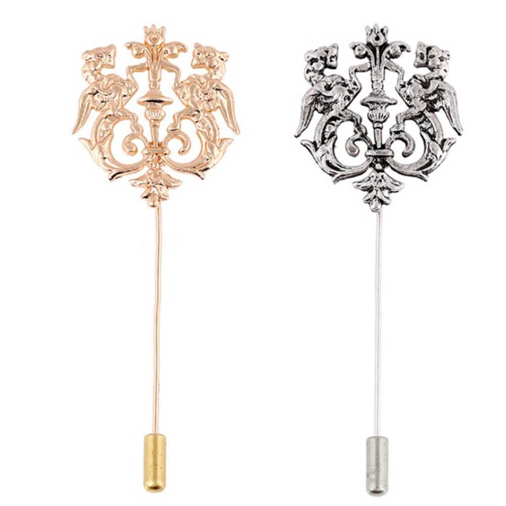 Ashion Retro Pernikahan Pria Perhiasan Aksesoris Warna Emas Vintage Bentuk Cocok Bros Pin untuk Pria Fashion Perhiasan