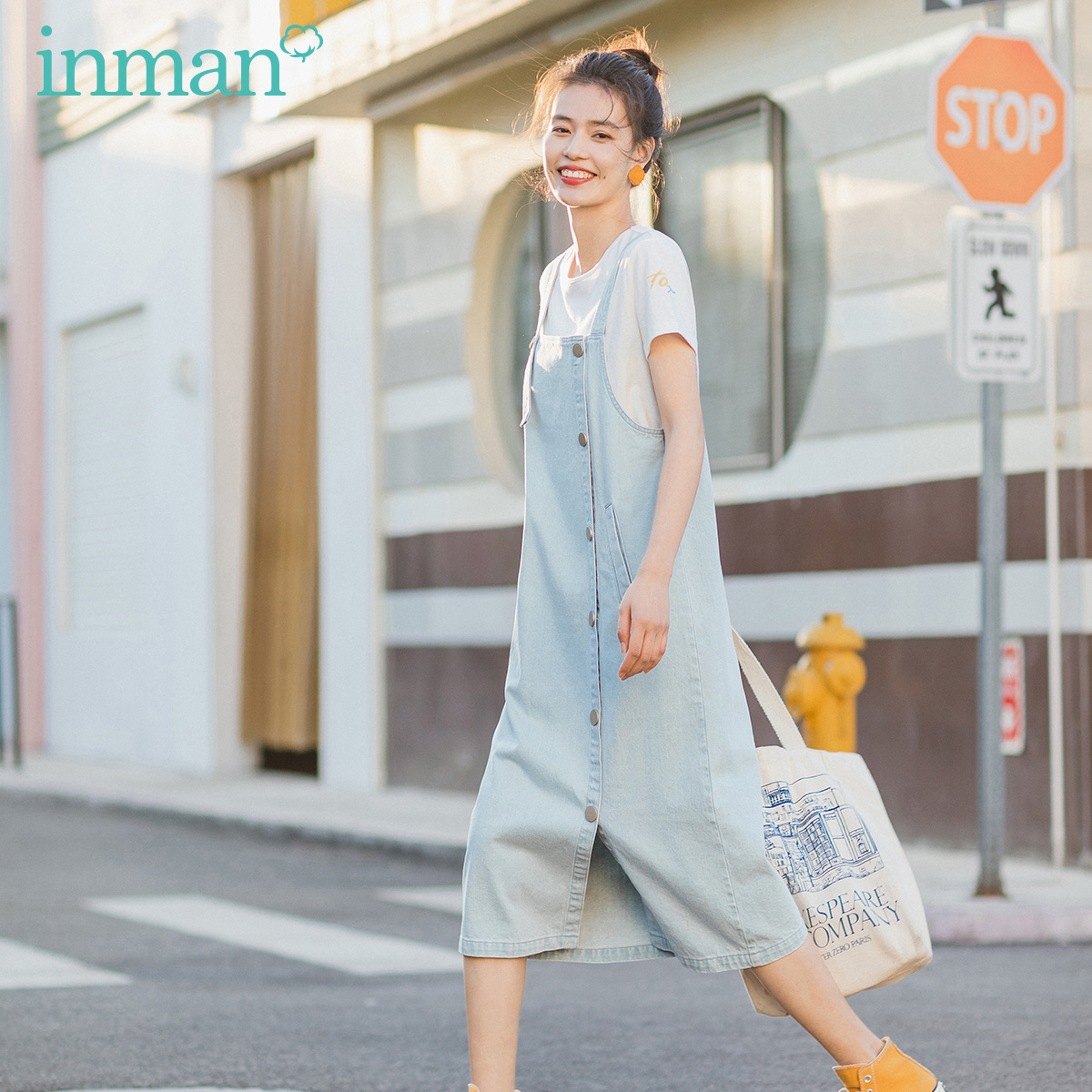 INMAN 2020 Summer New Arrival Literary Iean Suspenders With Leisure Short Sleeve T-shirt Two-piece Suit