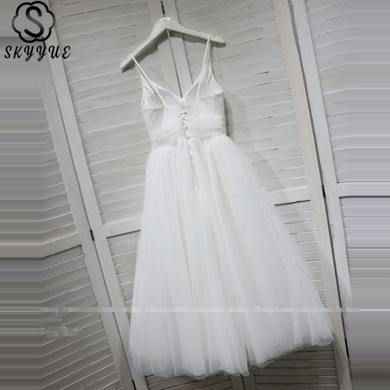 Skyyue Wedding Dress Sleeveless White V-Neck Vestido De Novia Spaghetti Strap Plus Size Lace Pleat Wedding Dress 2019 G008