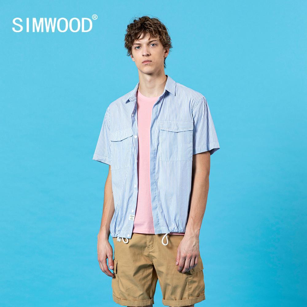 SIMWOOD 2020 Summer New Short Sleeve Pinstriped Loose Shirts Chest Pocket Drawstring Hem Fashion Men Plus Size Shirt SJ170363