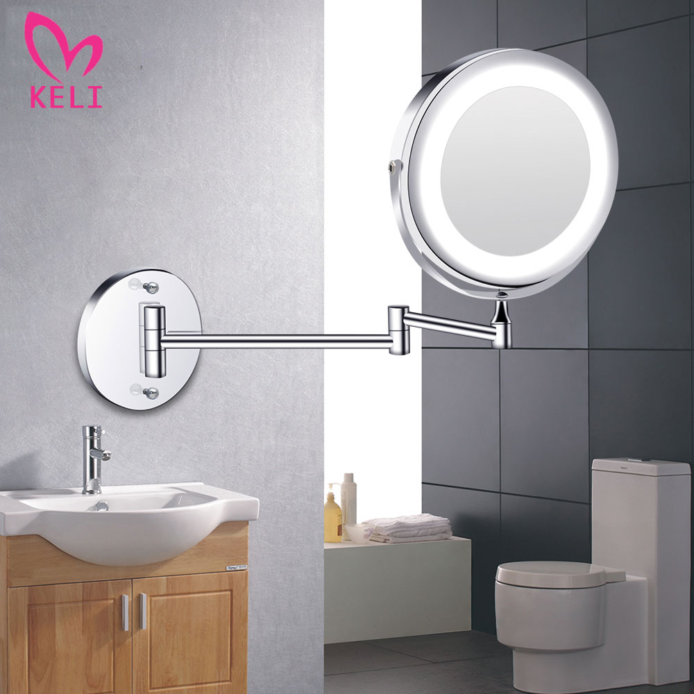 Led Makeup Mirror With Light Folding Wall Vanity Mirror 1x 10x Magnifying Double Sided Touch Bright Adjustable Bathroom Mirrors