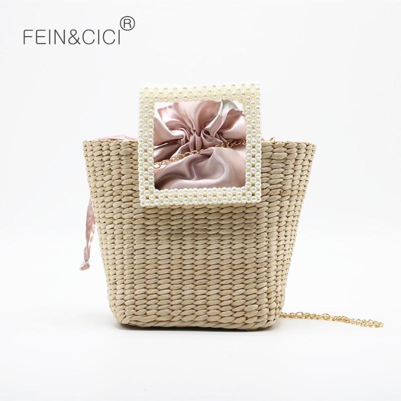 Mulheres totes saco rattan saco de praia bolsa de palha pérola weave natural cesta balde saco do mensageiro saco de ombro 2020 verão novo