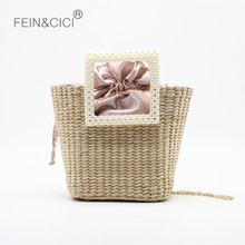 Women rattan bag beach straw pearl totes bag weave natural b