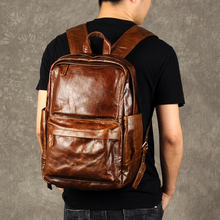 Винтажный Модный Роскошный мужской рюкзак из натуральной кожи