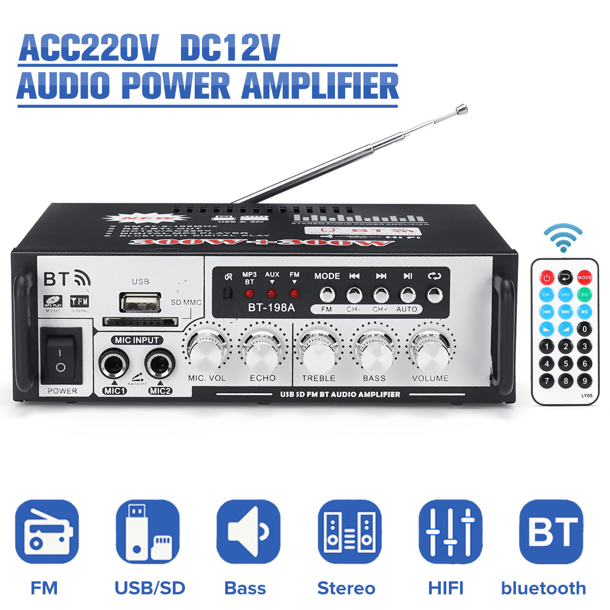 AC220V DC12V HIFI Power Amplifier Wireless Bluetooth Bass Audio FM Radio U Dish TF Card Power Amplifier Home Amplifier