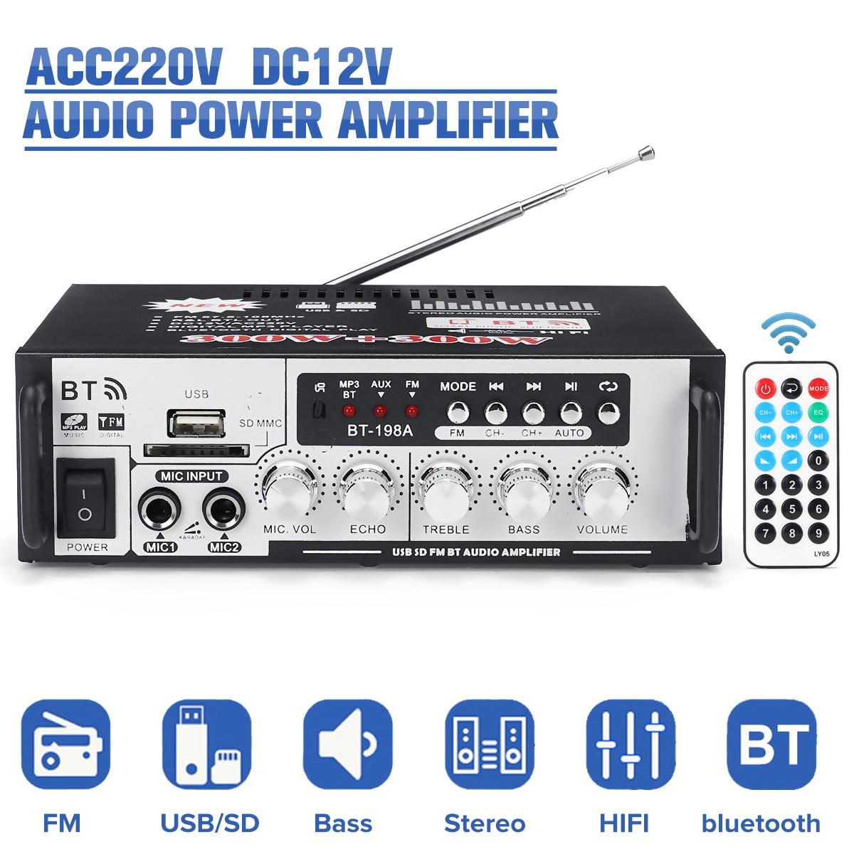 AC220V DC12V HIFI Power Amplifier Wireless Bluetooth Bass Audio FM Radio U Dish TF Card Power Amplifier Home Amplifier