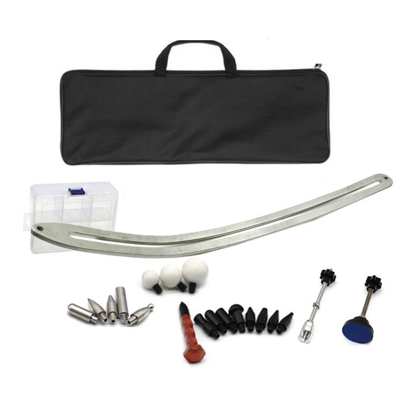 Tools : car dent repair tools flat bar kit with many tips and tool bag glue tabs set