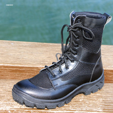 Letnie buty wojskowe Bot mężczyźni Botas Hombre buty wojskowe skórzane światło na zewnątrz wysoko górne siatki oddychające wojskowe buty taktyczne tanie tanio VEGROSS Podstawowe CN (pochodzenie) Mesh (air mesh) ANKLE Stałe Fabric Okrągły nosek RUBBER Lato Niska (1 cm-3 cm) 55668