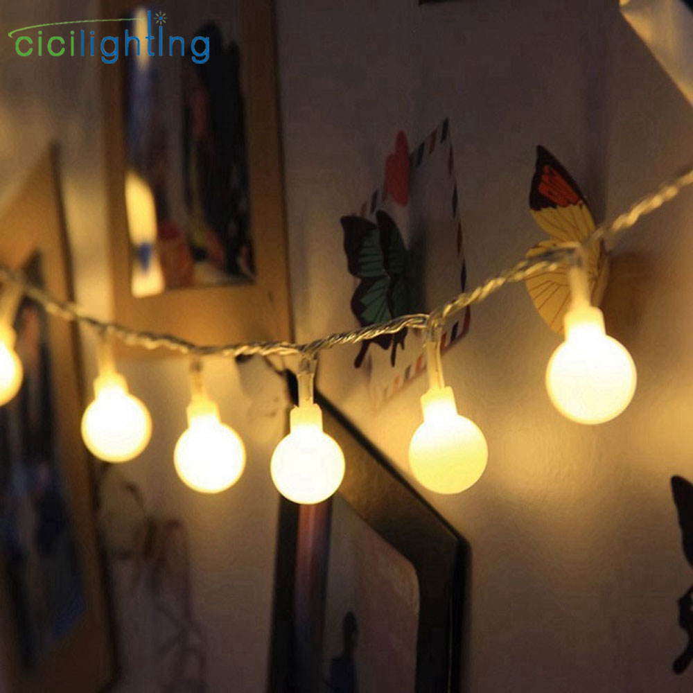 DC Battery Led String Lights With White Ball Holiday Decoration Lamp Festival Christmas Lights Outdoor Garland Led Fairy Lamp