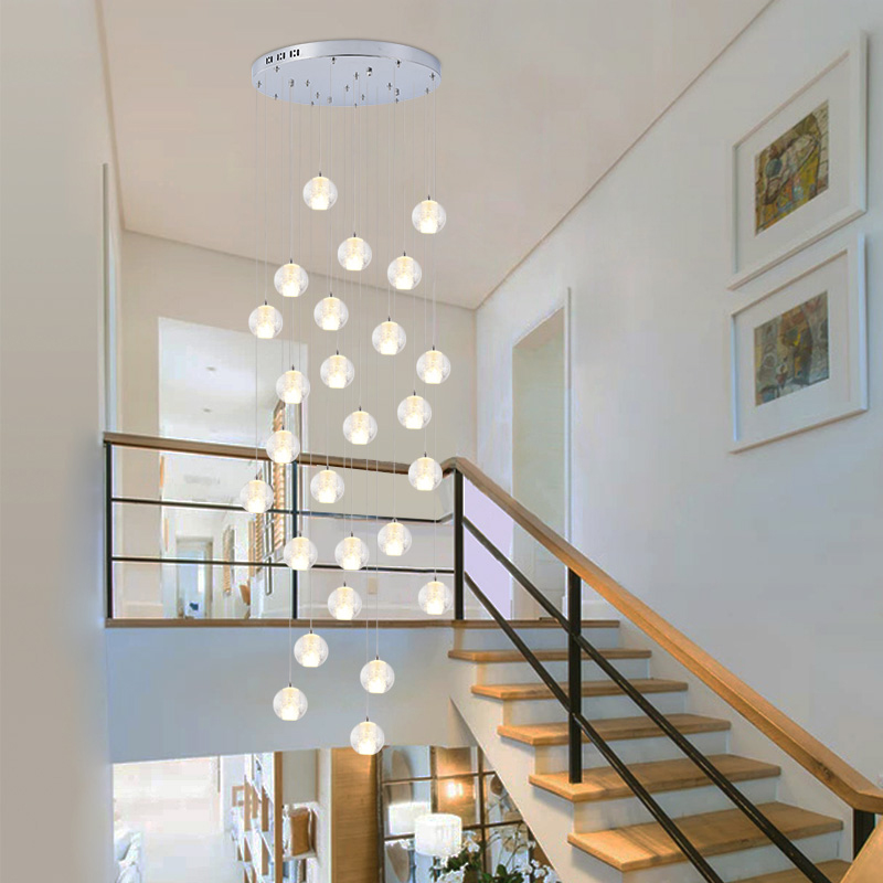 Modern Led Bubble Crystal Pendant Lights Round  Spiral Staircase Crystal Lighting Drawing Room Led Pendant Lamp Hanging Light