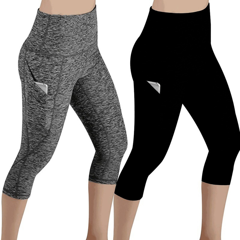 Woman Workout Capris Leggings Side Pocket High Waist Running Yoga Pants Slim Fitness Quick Drying Casual Stretchy Leggings