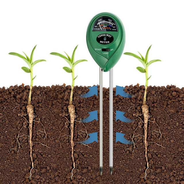 3-In-1 Digital PH Acidity Meter Multifunctional Soil Tester Moisture Meter Sunlight Intensity Measurement Analysis Instrument