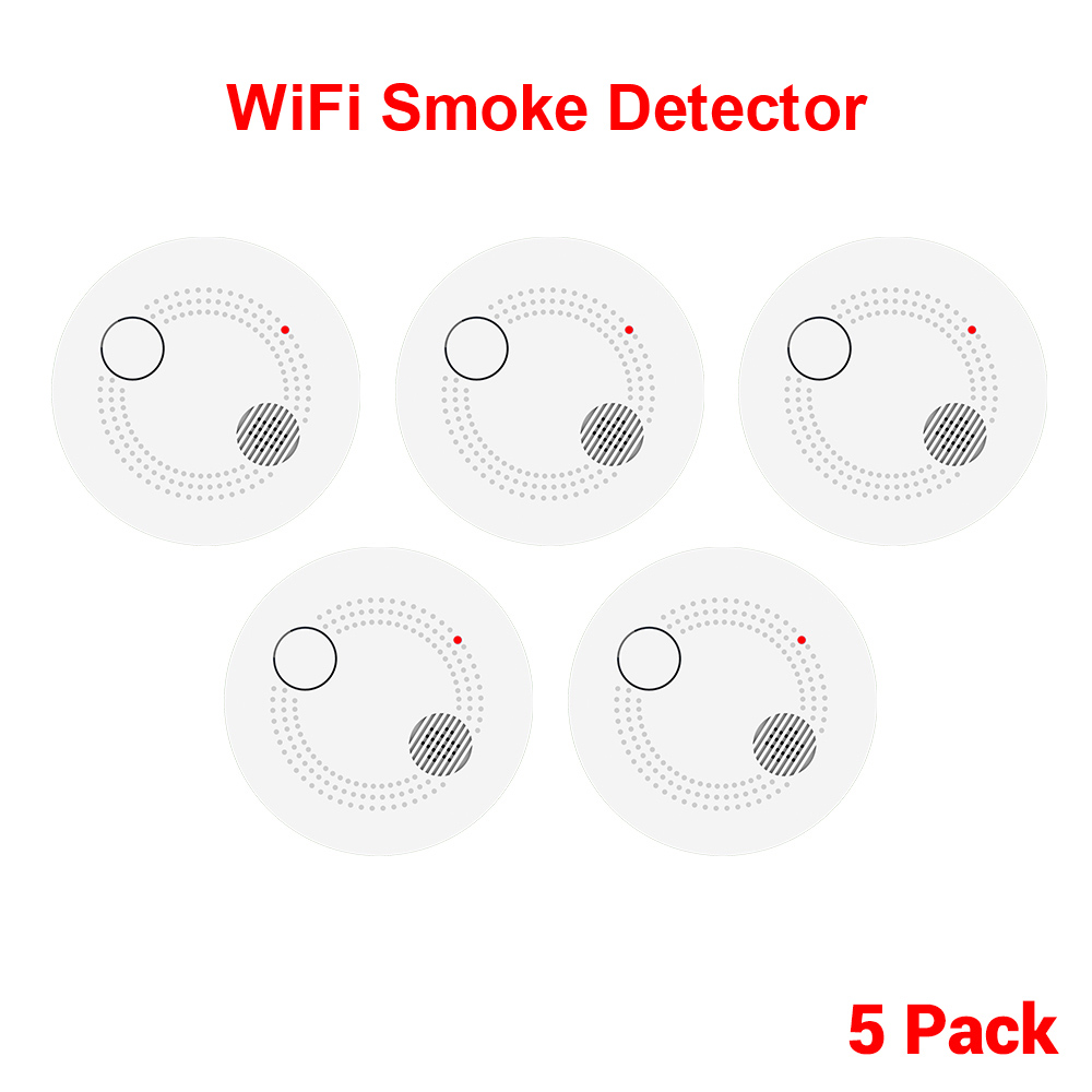 CPVan 5pcs/Lot WiFi Smoke Alarm Smoke Detector Independent Fire Alarm Portable Detector Alarm Home/Office Security Detector