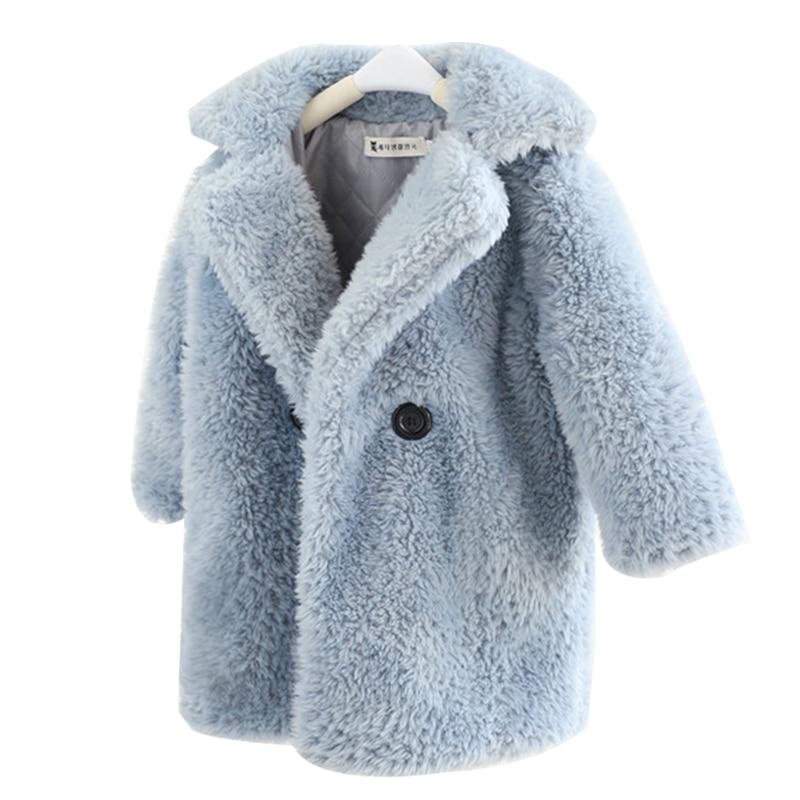 Jacket Girls Outwear Overcoat Turndown-Collar Faux-Fur Winter Kids Children Long Thicken