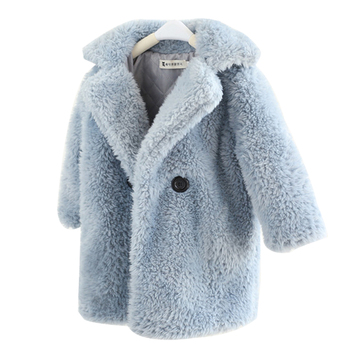 2-12 Years Children Faux Fur Coat Baby turndown collar Thicken Warm Jacket Girls Long Overcoat Winter Kids girls Casual Outwear children winter jacket kids winter jackets thicken warm cotton corduroy girls winter coat detachable collar hooded kids outwear