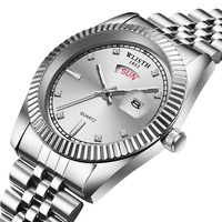Male gold color steel belt men's watch couple calendar week analog waterproof display quartz movement men's wrist watch|Lover's Watches|   -