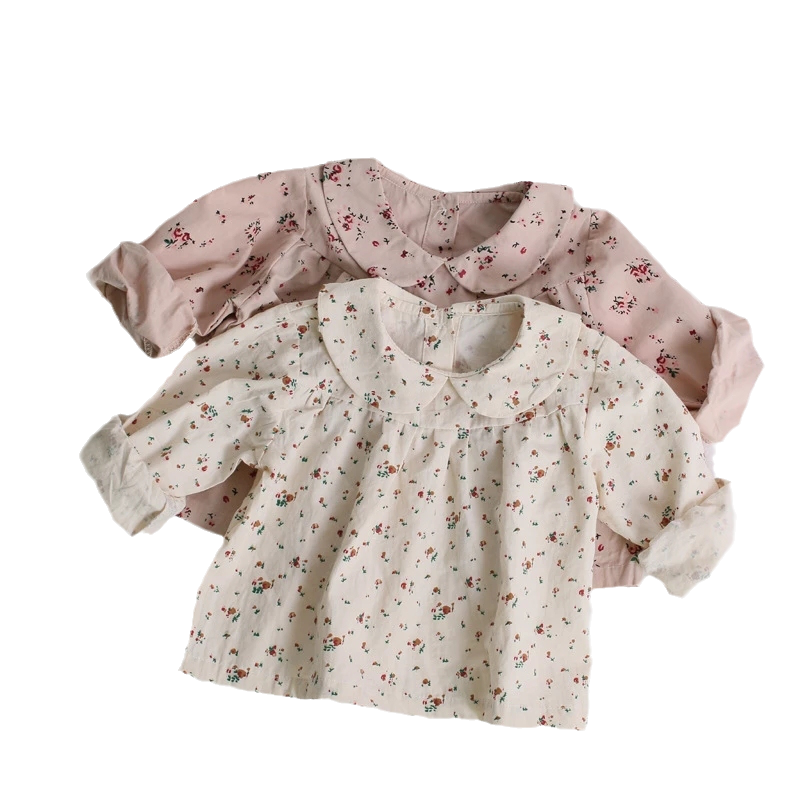 Korean Newborn Girls Blouses Clothes Baby Autumn Shirts Toddler Infant Floral Print Long Sleeve Tops Kids Cotton Shirt 6M-3Years