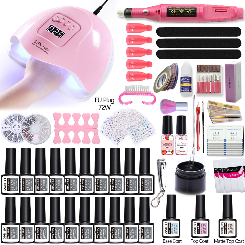 Nail Art Tool Set 20 Pc Nail Gel Polish Kit Soak Off Manicure Tools With UV LED Curing Lamp Electric Nail Drill All For Manicure