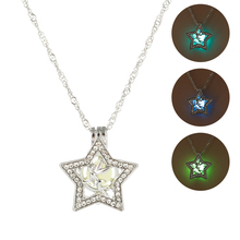 3 Color Luminous Stone Angle Necklace Classic Pentagram Hollow Glow In The Dark Pendant Necklace Women Fashion Jewelry for Party vintage pentagram hollow out bead necklace for women