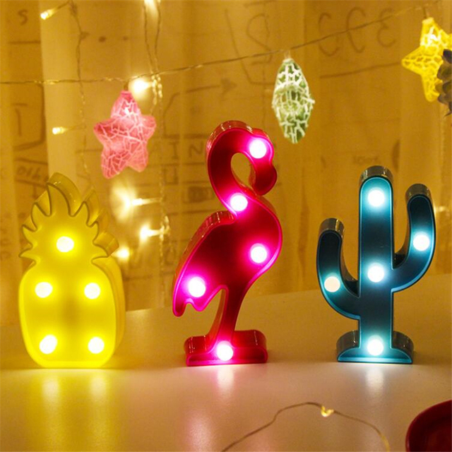 Cute LED Flamingo Unicorn Night Lights Marquee Sign Pineapple Cactus Star Luminary Cartoon Wall Lamp Animal Decoration Light