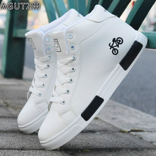 Men's Skateboarding Shoes High Top Sneakers Breathable White Sports Shoes Students Shoes lace up Walking Shoes Chaussure Homme m недорого