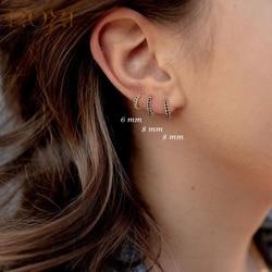ROXI Cool Girls Jewelry Black Zircon Crystals Hoop Earrings for Women Punk Classic Earings Oorbellen Voor Vrouwen Silver 925
