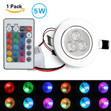 Promotion 5W LED RGB bulb DownLight Ceiling Lamp 16Colors + Romote Controller  Round Downlight GB