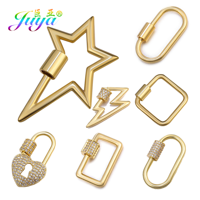 Juya DIY Jewelry Findings Spiral Clasp Supplies Metal Screw Clasps Accessories For Luxury Hanging Chains Pendant Jewelry Making
