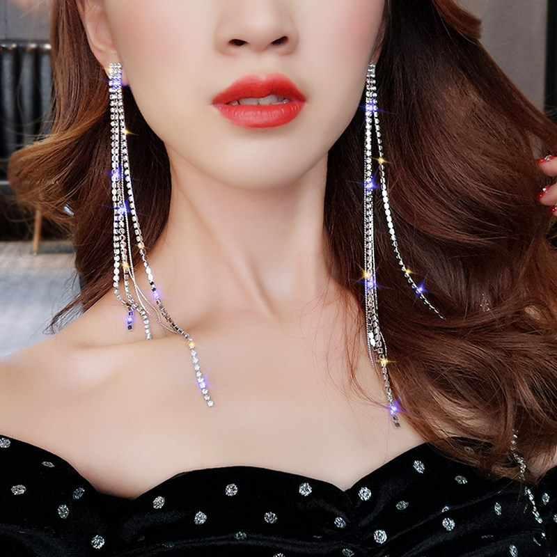 TREAZY 2019 ファッションクリスタル女性のジュエリーシルバーカラーのラインストーンウェディングパーティーブラブライヤリング花嫁ギフト