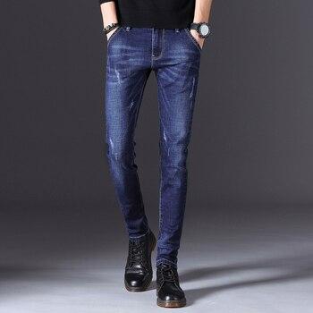 Высокое качество 2020 Стильные повседневные прямые узкие джинсы для мужчин Лидер продаж длинные брюки для мужчин