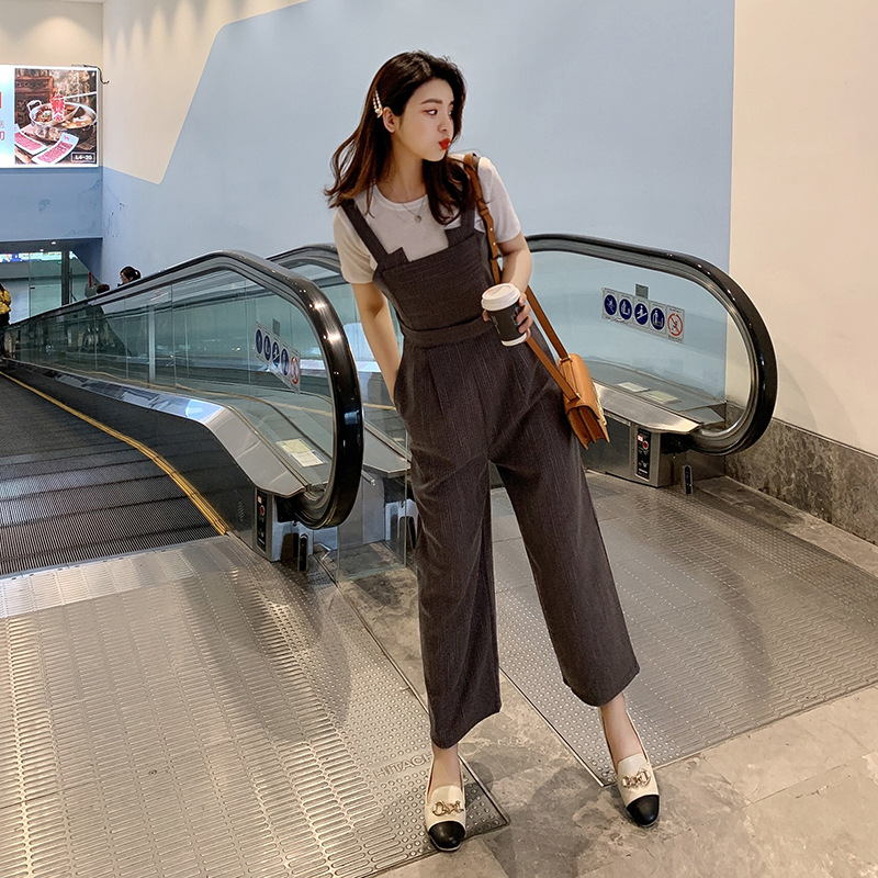 2019 New Style INS Super Fire Suspender Pants Women's Fashion High-waisted Slimming Versatile Capri One-piece Loose Pants F5872