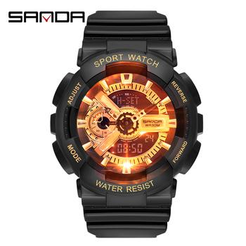 Męskie zegarki z podwójnym wyświetlaczem digtal zegarek dla pary panie sport wodoodporny zegarek na rękę led elektroniczny zegarek do nurkowania na zewnątrz tanie i dobre opinie SANDA Cyfrowy Podwójny Wyświetlacz QUARTZ RUBBER 3Bar Klamra 16mm Hardlex digtal watch electronic watches 22cm Nie pakiet