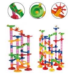 105 Pcs DIY Construção de Faixas de Mármore Mármore Corrida Corrida Crianças Brinquedo Pista Bola Mármores Tubo Jogo Blocos Crianças Educacionais Presentes