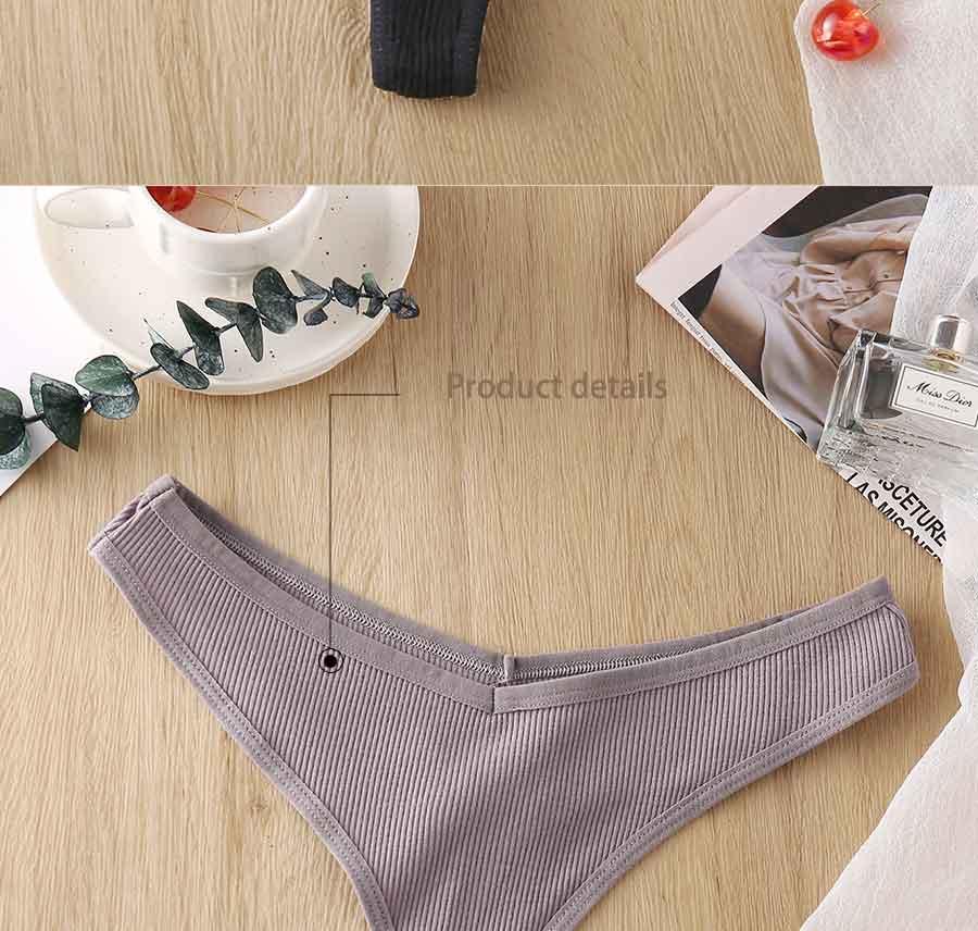 3PCS/Set Women's Panties G-string Thong Cotton Underwear Sexy 6 Solid Color Intimates Lingerie - underwear