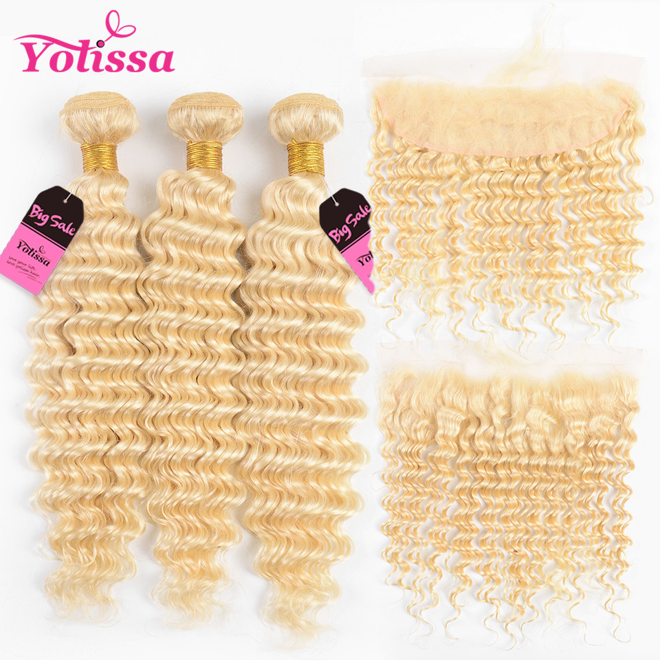 Yolissa Hair Deep Wave 613 Bundles With Frontal Pre Plucked Platinum Blonde Brazilian Hair Weave 3 Bundles With Frontal Remy image