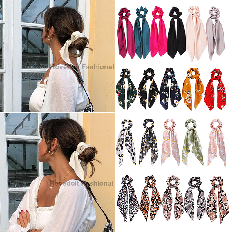 Ponytail Holder Hair-Accessories Hairband Scrunchy Bow Knot Candy-Color Girls Women New