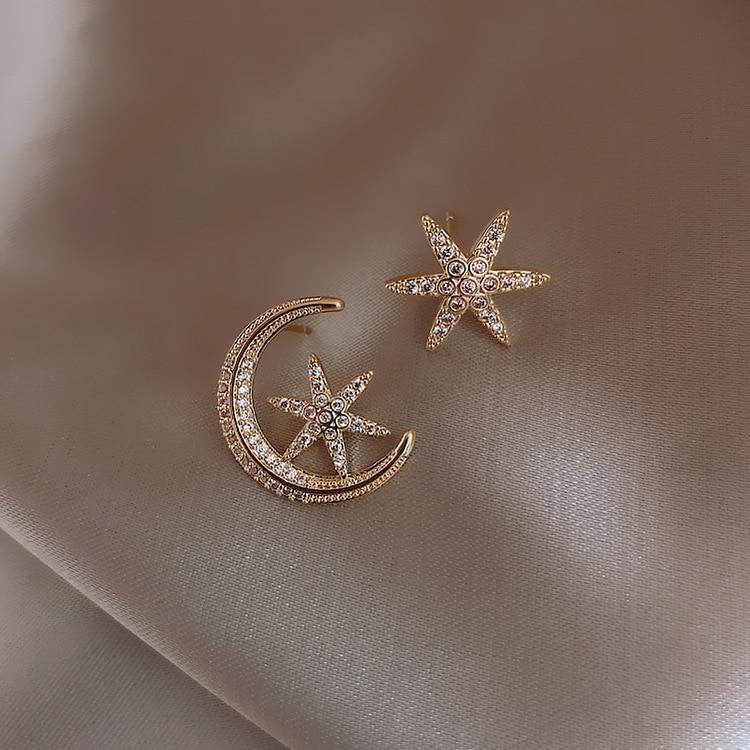 Fashion Asymmetric Hollow Out Moon Star Stud Earrings Geometric Rhinestone Earrings Prevent Allergy Women Jewelry
