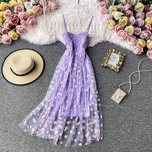 Vestidos de verão de verão sexy renda malha vestidos de espaguete cinta ruched floral estilo coreano vestido roxo