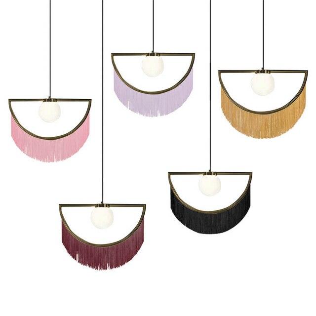 nordic designer tassel glass ball pendant lights for living room bedroom villa hotel home deco suspension luminaire led fixtures