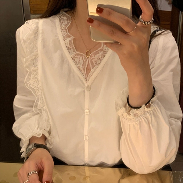 Korean Style Women Spring White Blouse Puff Long Sleeve Sexy V-Neck Shirt Button Down Ruffles Floral Lace Splicing Trim Office 2
