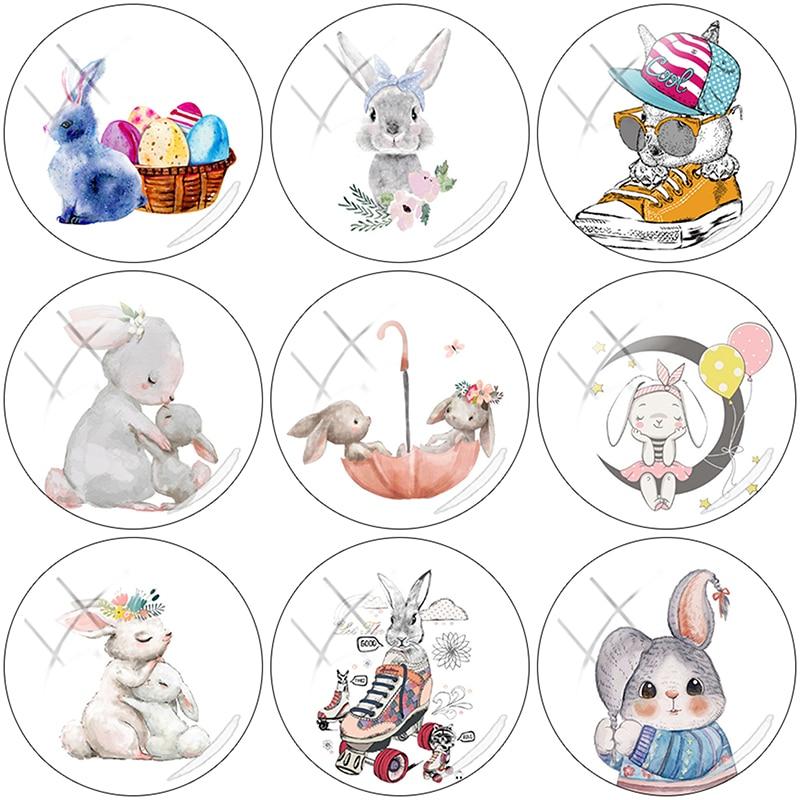 TAFREE 2019 NEW Cute cartoon rabbit 12/15//16/18//20//25 mm Glass Cabochon Dome Flat Back DIY Jewelry Making RT01(China)