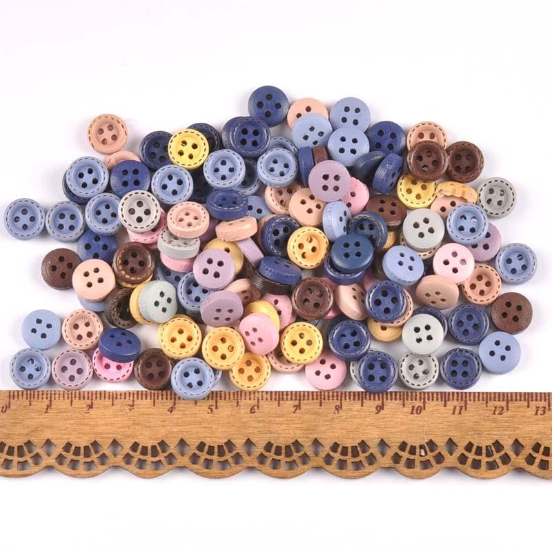 100 шт 9 мм/10 мм деревянные декоративные пуговицы для пришивания одежды Скрапбукинг ремесла домашний декор MT2519