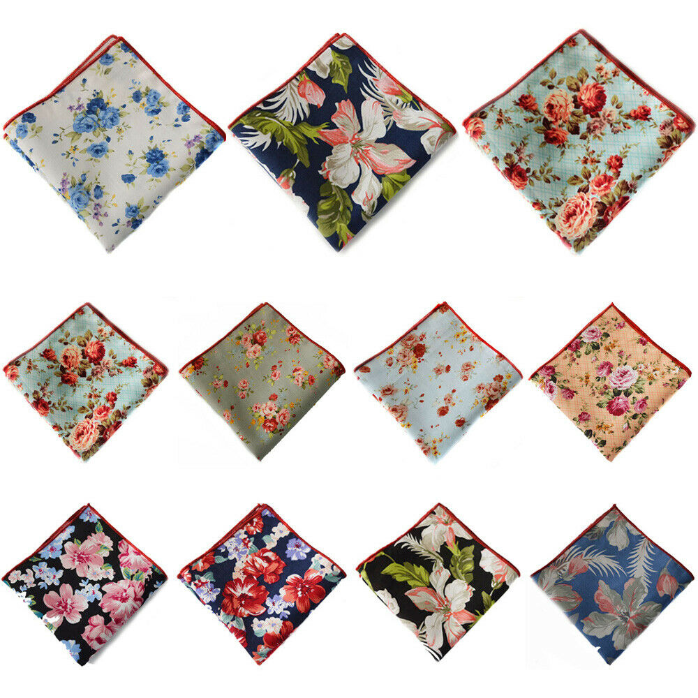 11 PCS Mens Floral Flower Printed Handkerchief Pocket Square Wedding Party Hanky YXTIE0319A