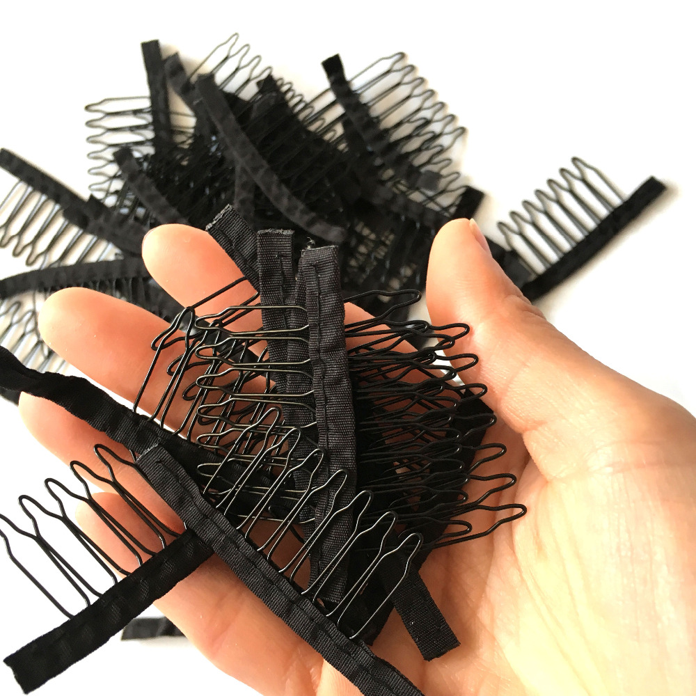 7 Teeth Black Wig Comb Cheap Wig Clips Combs Hair Extensions Clips Comfortable Wig Clips Top Stainless Steel Wig Making Tool