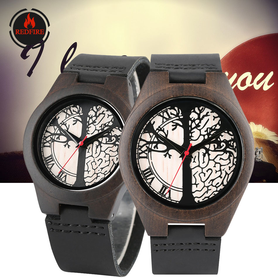 REDFIRE Ebony Wood Watches Couple Quartz Genuine Leather Wristwatch Life Tree Wedding/Anniversary Gifts Lovers Watch Pareja
