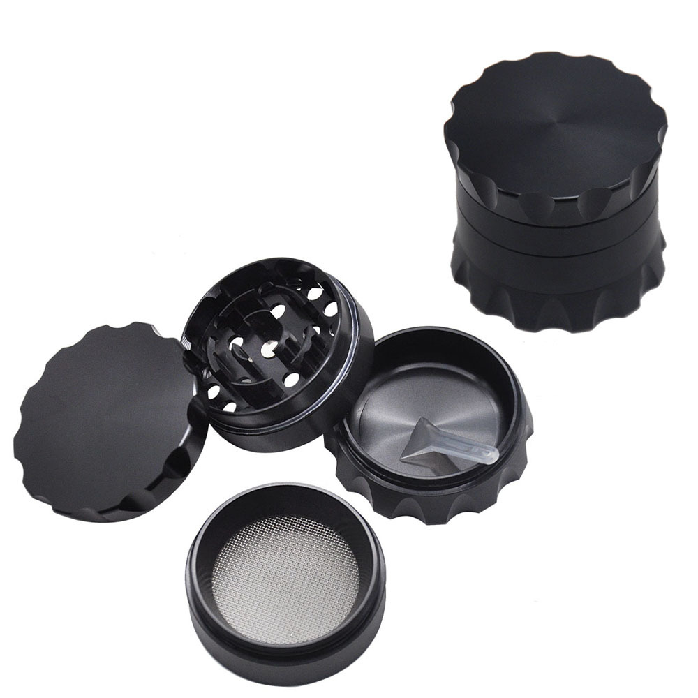 Drum Style Metal Smoking Grinders With Pollen Catcher 50MM 4 Piece Aircraft Aluminum Herb Grinder Suit Pipe 4